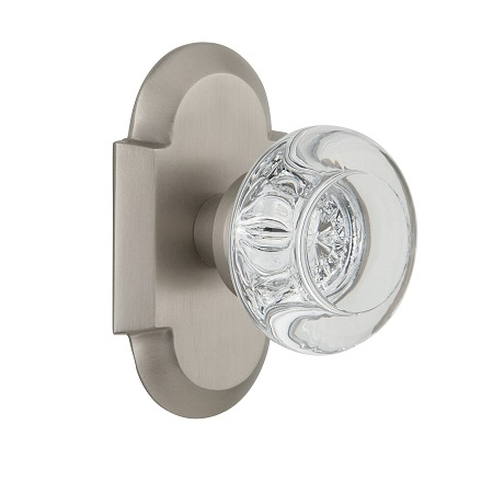 Nostalgic Warehouse Cottage Plate with Round Clear Crystal Knob Satin Nickel