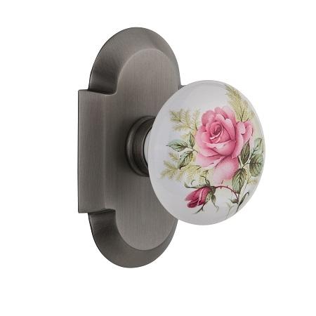 Nostalgic Warehouse Cottage Plate With Rose Porcelain Knob