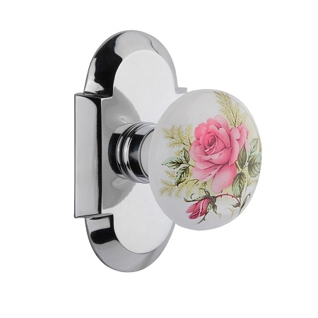 Nostalgic Warehouse Cottage Plate with Rose Porcelain Knob Bright Chrome
