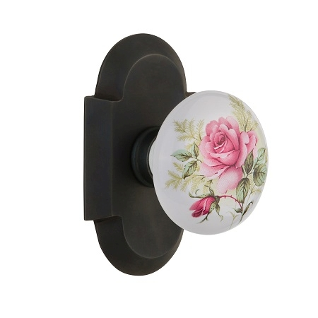 Nostalgic Warehouse Cottage Plate with Rose Porcelain Knob Oil Rubbed Bronze