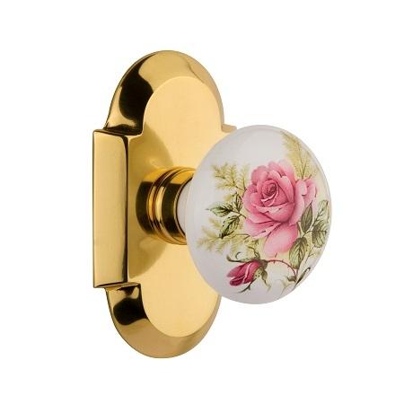 Nostalgic Warehouse Cottage Plate with Rose Porcelain Knob Polished Brass