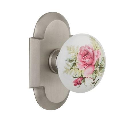 Nostalgic Warehouse Cottage Plate with Rose Porcelain Knob Satin Nickel