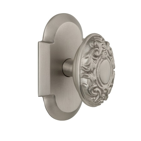Nostalgic Warehouse Cottage Plate with Warehouse Victorian Knob Satin Nickel