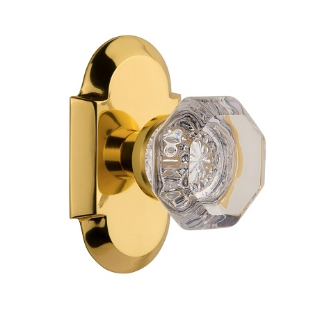 Nostalgic Warehouse Cottage Plate with Waldorf Knob Polished Brass