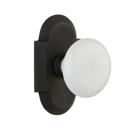 Nostalgic Warehouse Cottage Plate with White Porcelain Knob Oil Rubbed Bronze