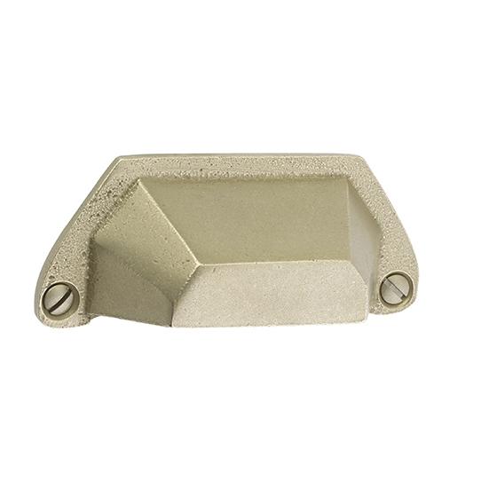 Emtek Sandcast Bronze Bin Pull 86050, 86051 Tumbled White Bronze (TWB)