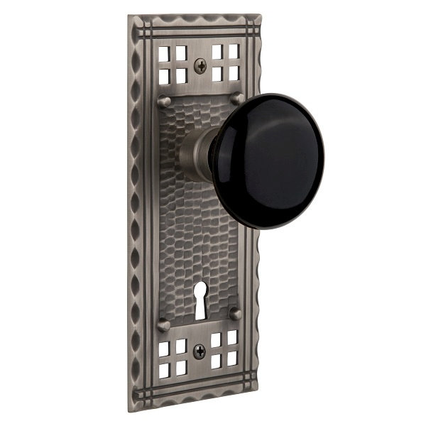 Nostalgic Warehouse Craftsman Backplate Privacy Mortise with Black Porcelain AP