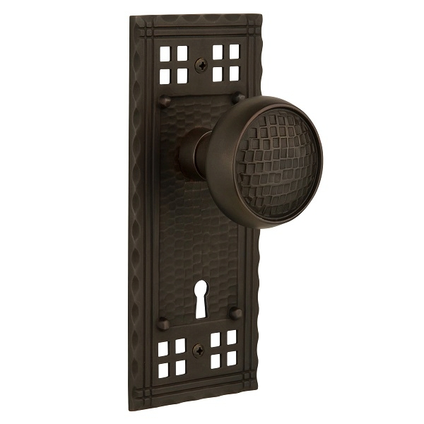 Nostalgic Warehouse Craftsman Backplate Privacy Mortise with Craftsman Knob OB