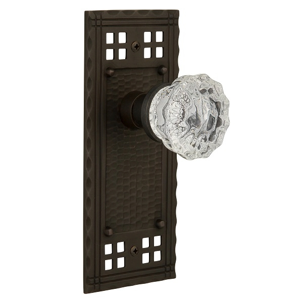 Nostalgic Warehouse Craftsman Backplate with Crystal Knob Oil Rubbed Bronze