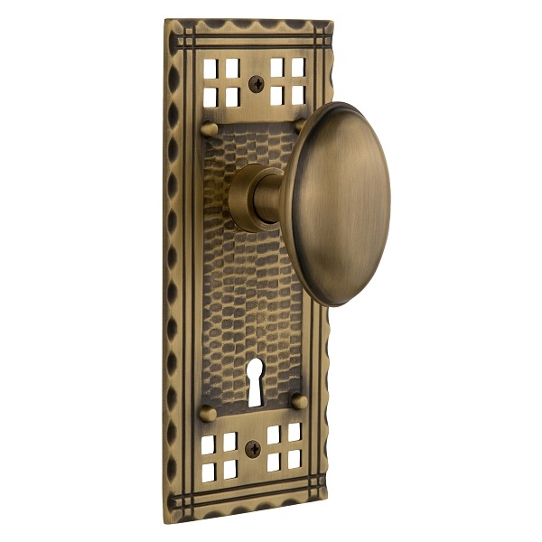 Nostalgic Warehouse Craftsman Backplate Privacy Mortise with Homestead Knob AB