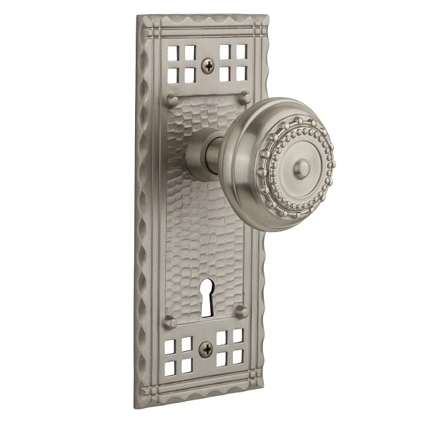 Nostalgic Warehouse Craftsman Backplate Privacy Mortise with Meadows Knob SN