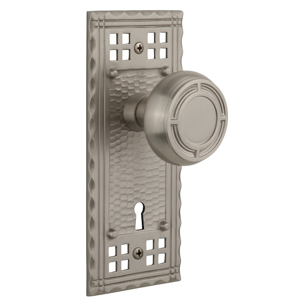 Nostalgic Warehouse Craftsman Backplate Privacy Mortise with Mission Knob SN