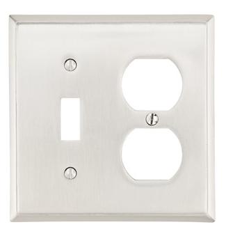 Emtek 29141 Colonial Toggle1 Duplex 1 Switchplate Satin Nickel (US15)