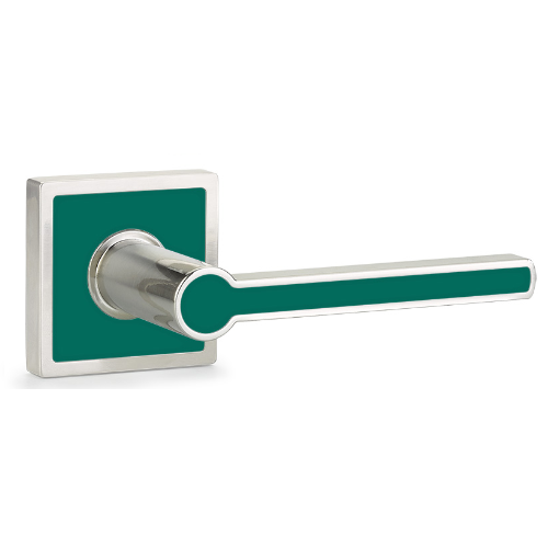 Emtek Cayman Lever with Trinidad Rose and Sea Glass Green Insert