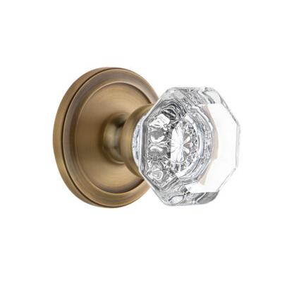 Grandeur Chambord Knob with Circulaire Rose Vintage Brass