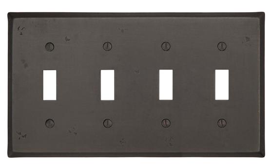 Emtek 29114 Rustic Toggle 4 Switchplate Medium Bronze Patina (MB)
