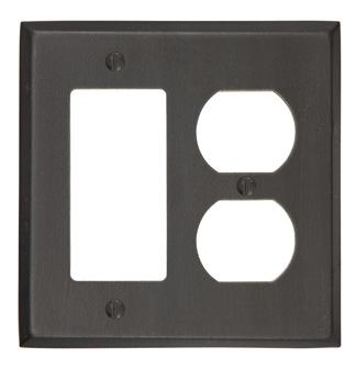 Emtek 29143 Rustic Rocker 1 Duplex 1 Switchplate Medium Bronze Patina (MB)