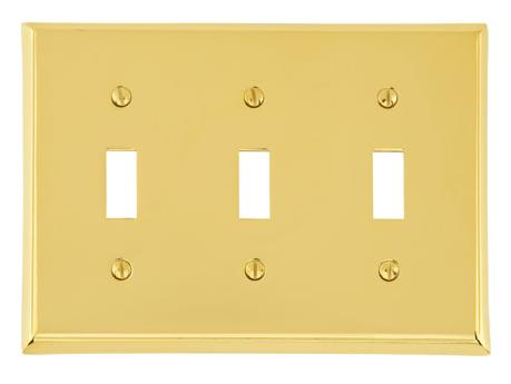 Emtek 29113 Colonial Toggle 3 Switchplate Lifetime Polished Brass (PVD)