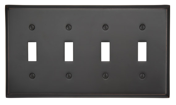 Emtek 29114 Colonial Toggle 4 Switchplate Oil Rubbed Bronze (US10B)