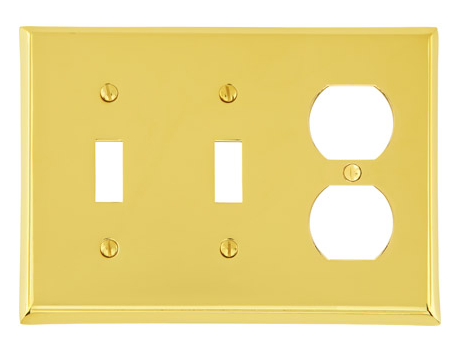 Emtek 29142 Colonial Toggle2 Duplex 1 Switchplate Lifetime Brass (PVD)