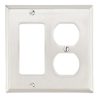 Emtek 29143 Colonial Rocker 1 Duplex 1 Switchplate Satin Nickel (US15)