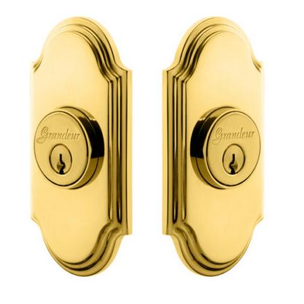 Grandeur Arc Double Cylinder Deadbolt Lifetime Polished Brass