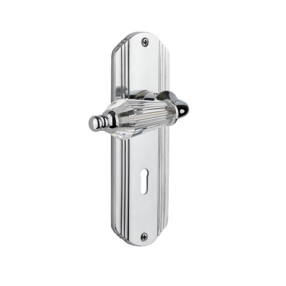 Nostalgic Warehouse Deco Backplate with Parlour Crystal Lever BC Bright Chrome