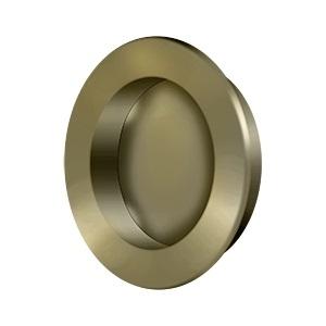 Deltana FP238 Solid Brass Round HD Flush Pull Antique Brass (US5)