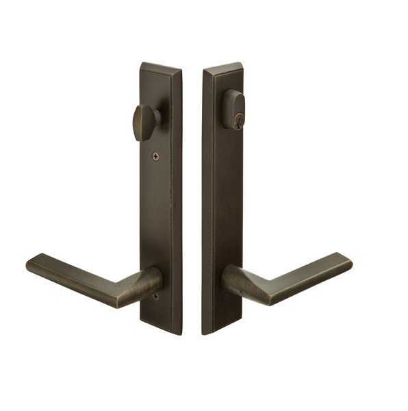 Emtek Door Configuration 7 Sandcast Bronze Rectangular