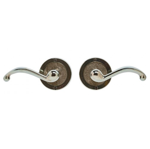 Rocky Mountain E101 Round Designer Escutcheon with Wood Texture Bronze Inlay