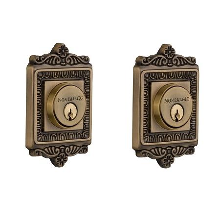 Egg & Dart Double Cylinder Deadbolt Antique Brass (AB)