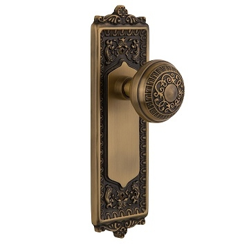 Nostalgic warehouse Egg and Dart Backplate with Egg and Dart Knob Antique Brass