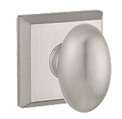 Baldwin Reserve Ellipse Knob with Square Rose (TSR) shown in Satin Nickel (150)