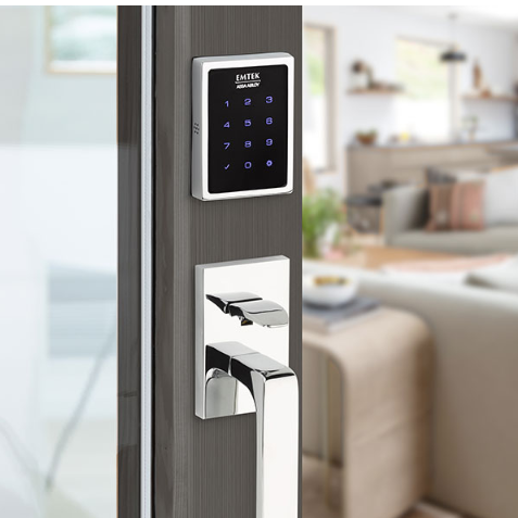 Emtek EMPowered™ EMP1103 US26 Touchscreen Keypad Baden Entry Set - Connected by August on Door
