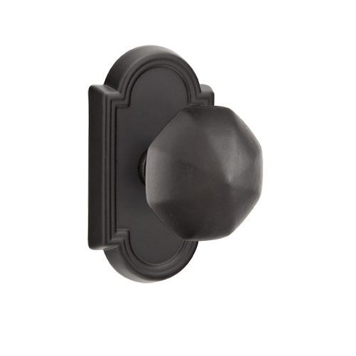 Emtek Octagon Door knob with #11 Rose Flat Black Patina (FB)