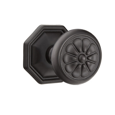 Emtek Petal Door knob with #15 Rose Flat Black Patina (FB)
