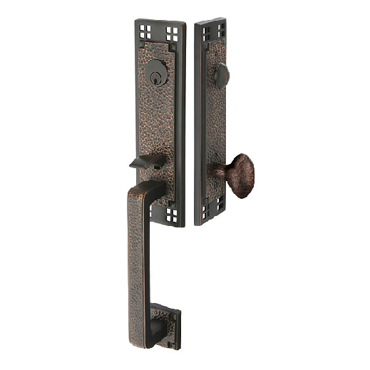 Emtek 4811 Arts and Crafts Handleset with Hammered Egg Knob Oil Rubbed Bronze