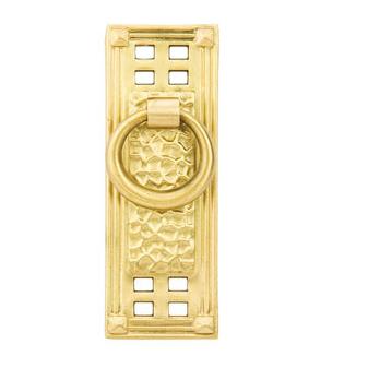 Emtek 86042 Hammered Vertical Ring Pull Polished Brass (US3)