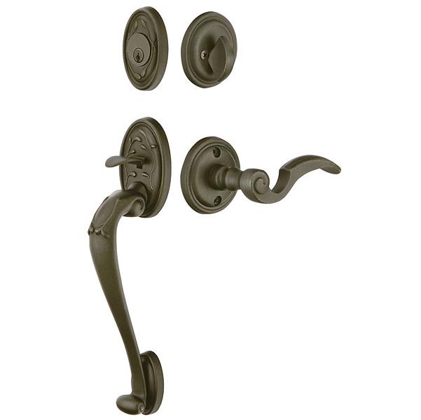 Emtek 471224 Tuscany Sectional Handleset with Napoli Lever Medium Bronze Patina