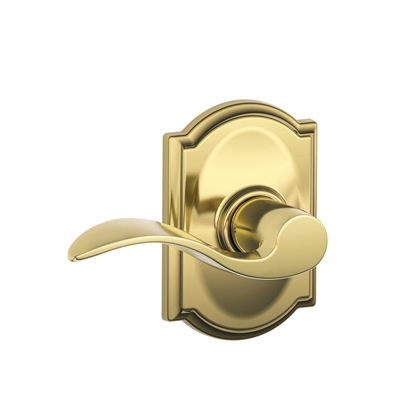 Schlage F10ACC605CAM Accent Passage Door Lever Set with Camelot Rose