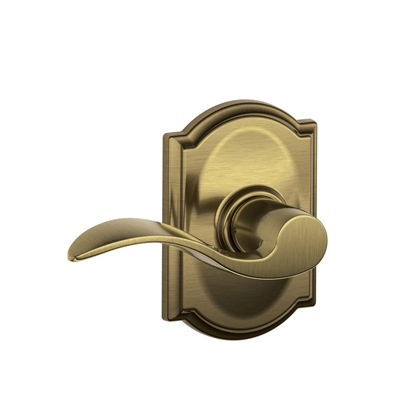 Schlage F10ACC609CAM Accent Passage Door Lever Set with Camelot Rose