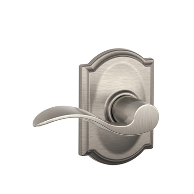 Schlage F10ACC619CAM Accent Passage Door Lever Set with Camelot Rose