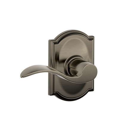 Schlage F10ACC620CAM Accent Passage Door Lever Set with Camelot Rose
