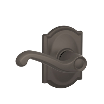 Schlage F10FLA613CAM Flair Passage Door Lever Set with Camelot Rose