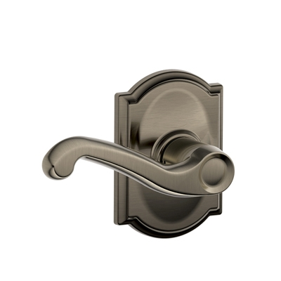 Schlage F10FLA620CAM Flair Passage Door Lever Set with Camelot Rose