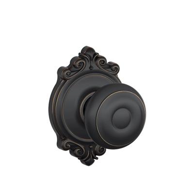 Schlage Georgian Knob with Brookshire Decorative Rose Aged Bronze