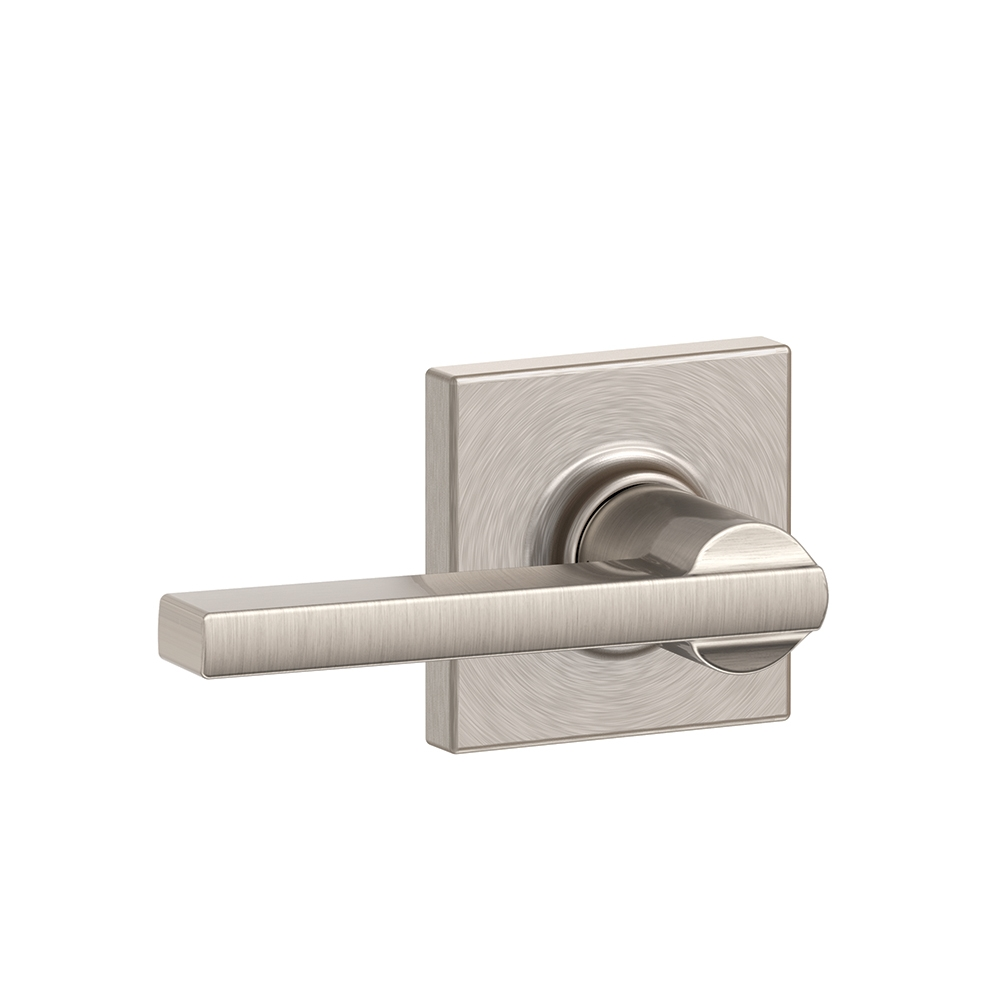 Schlage F10 LAT COL Latitude Passage Door Lever Set With Collins Rose