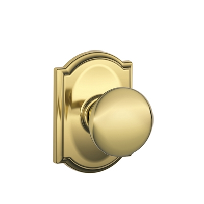 Schlage Plymouth Knob with Camelot Decorative Rose in Bright Brass