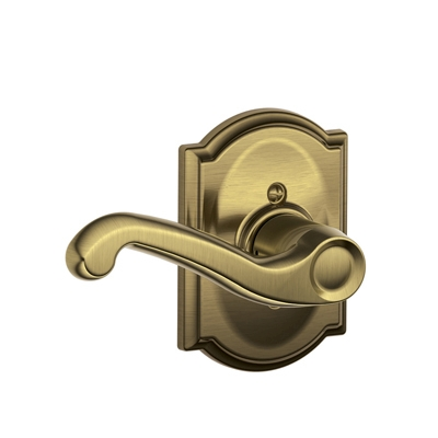 Schlage F170FLA609CAM Flair Single Dummy Door Lever Set with Camelot Rose