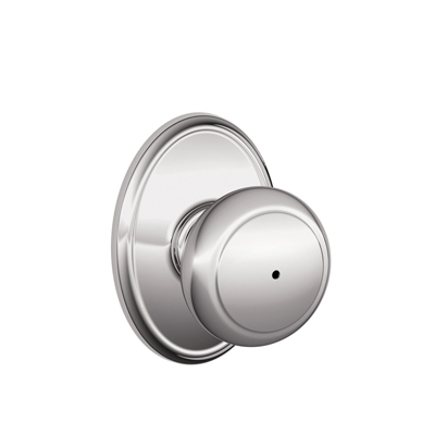 Schlage Andover Knob with Wakefield Decorative Rose in Bright Chrome